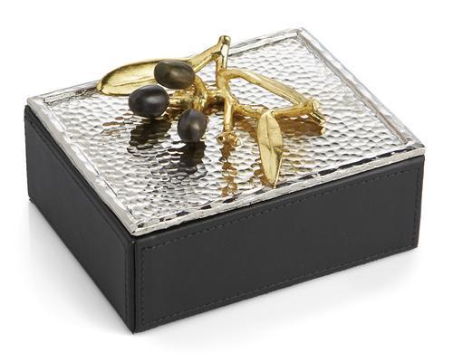 Olive Branch Gold Mini Jewelry Box