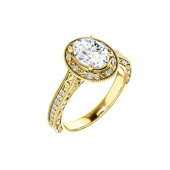 Vintage Oval Diamond Ring Setting