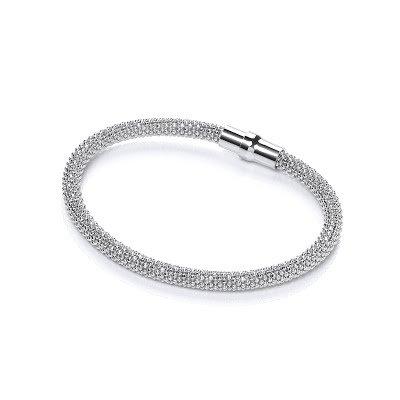 Sterling Caviar Bracelet White