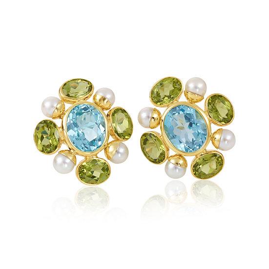 Gemstone pearl earrings