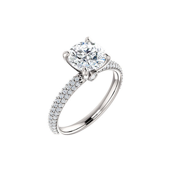 Round Pave Diamond Engagement Ring Setting