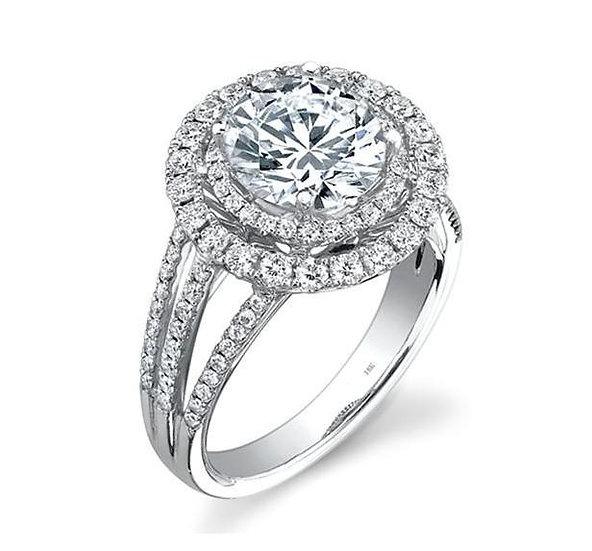 Double Halo Diamond Engagement Ring Split Shank
