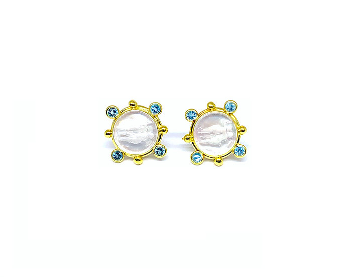Venetian Gold Blue Topaz Earrings