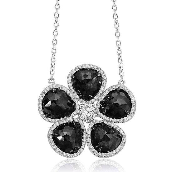Black Diamond Flower Necklace