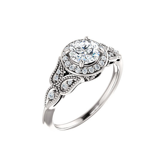 Diamond Halo Vintage Engagement Ring