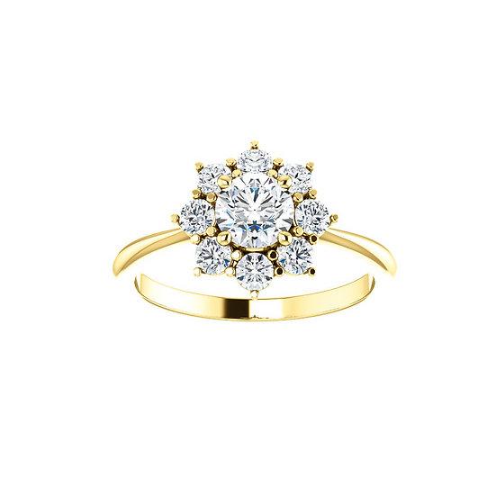 Starburst Halo Engagement Ring Setting