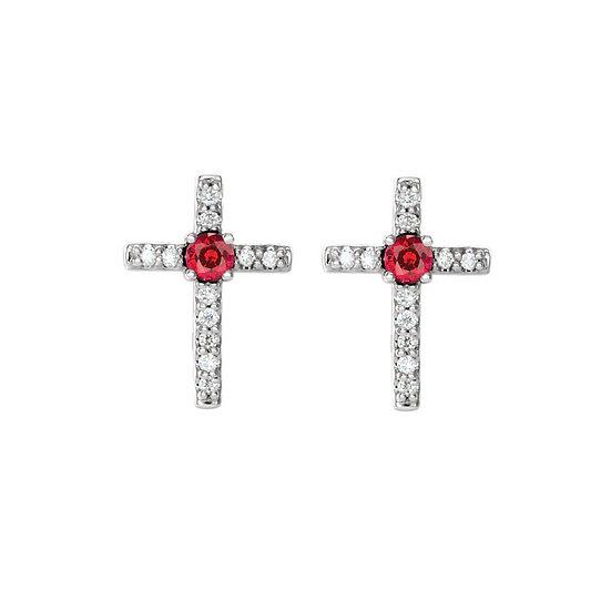 Ruby Diamond Cross Earrings