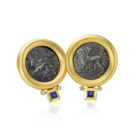 Antique Coin Gold Sapphire Earrings