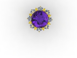 Amethyst & Yellow Diamond Ring