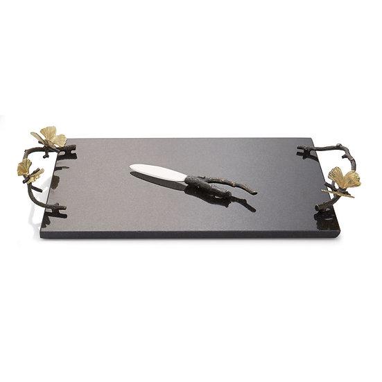 Butterfly Ginkgo Cheese Board w/Knife