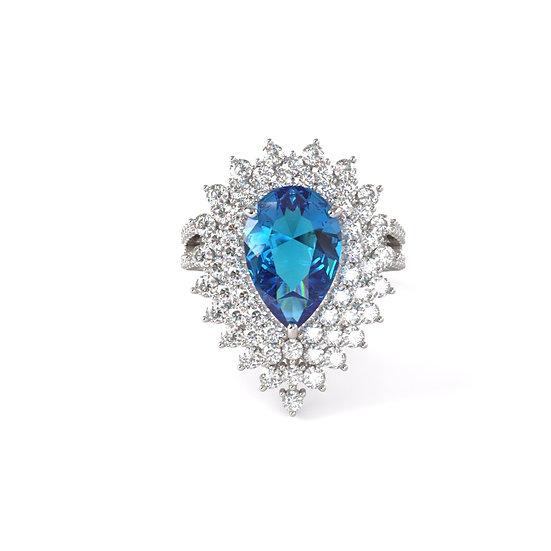 Pear Blue Topaz Diamond Ring