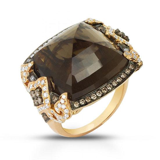 Smokey topaz diamond ring