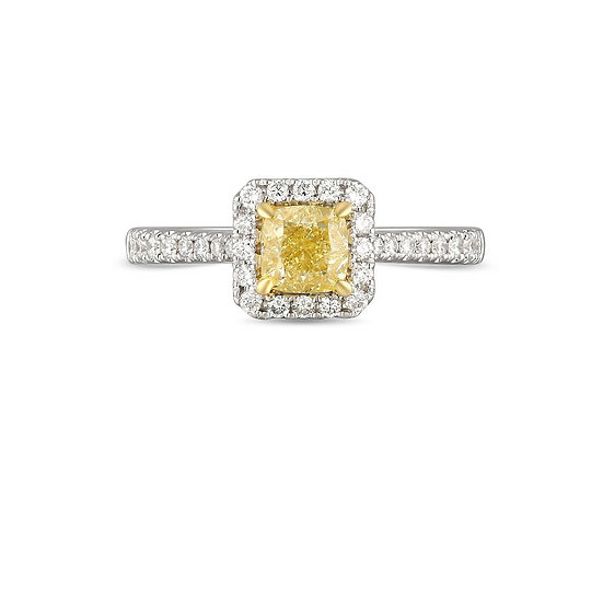 Yellow Diamond Halo Engagement Ring