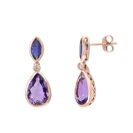 Amethyst Diamond Earrings