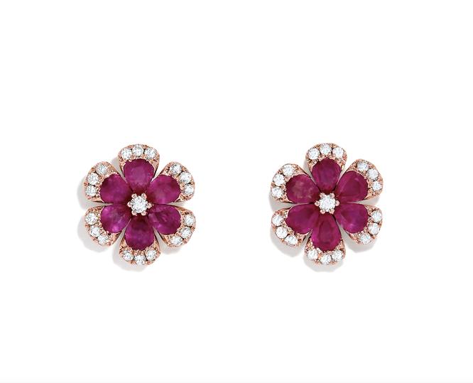 Ruby Diamond Flower Earrings