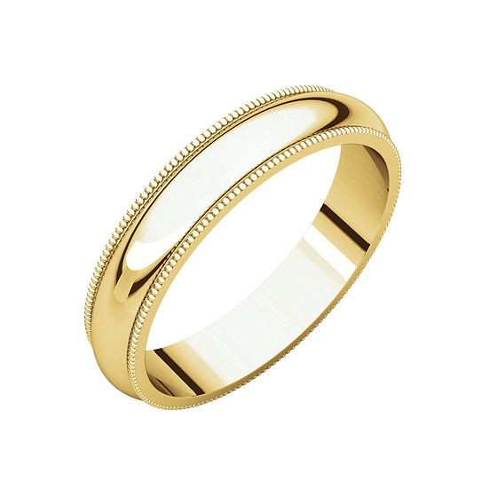Men's 4mm yellow gold milgrain band