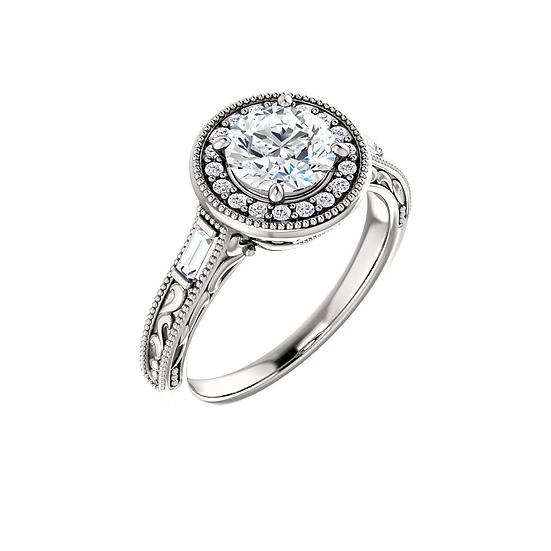 Vintage Scroll Diamond Ring Setting