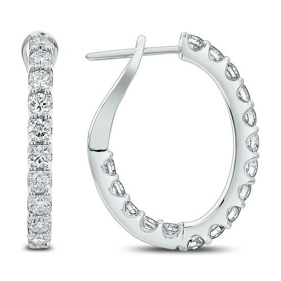 Diamond In & Out Hoop Earrings