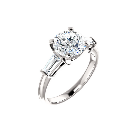Solitaire Ring Setting with Baguette Sides