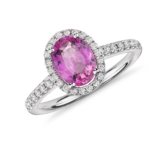 Oval Pink Sapphire Halo Ring