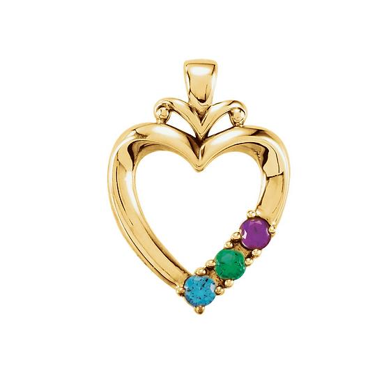 Three stone family heart pendant