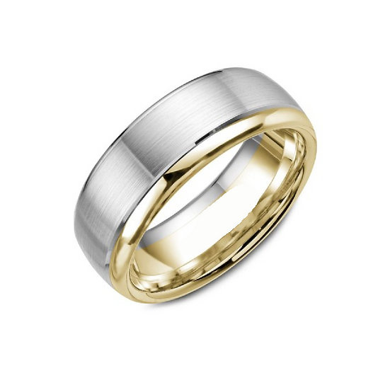 Two tone mens gold band 7.5mm