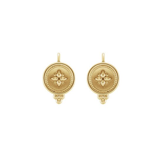 Yellow Gold Beaded Lever Back Earrings