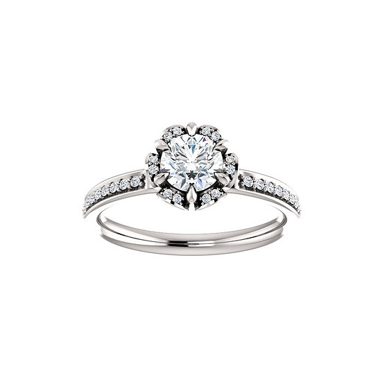 Halo Floral Gallery Engagement Ring