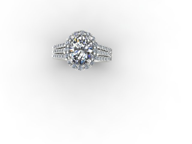 Oval three row diamond ring