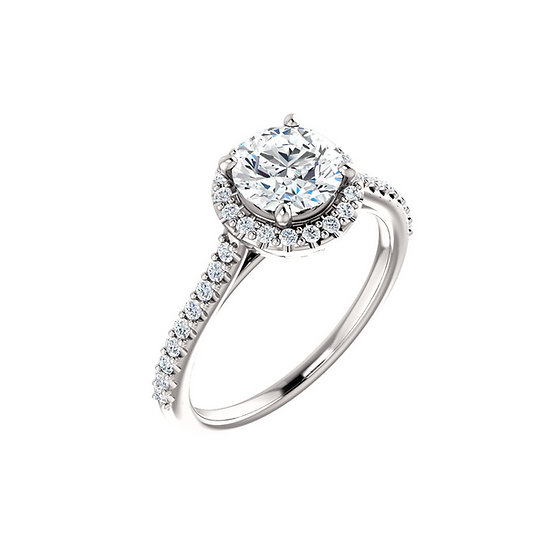 Diamond Halo Fleur De Lis Engagement Ring