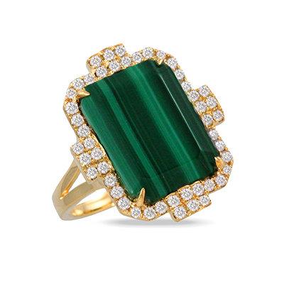 Malachite Diamond Ring