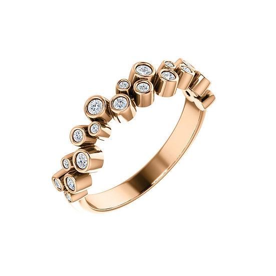 Rose gold bezel diamond wedding band
