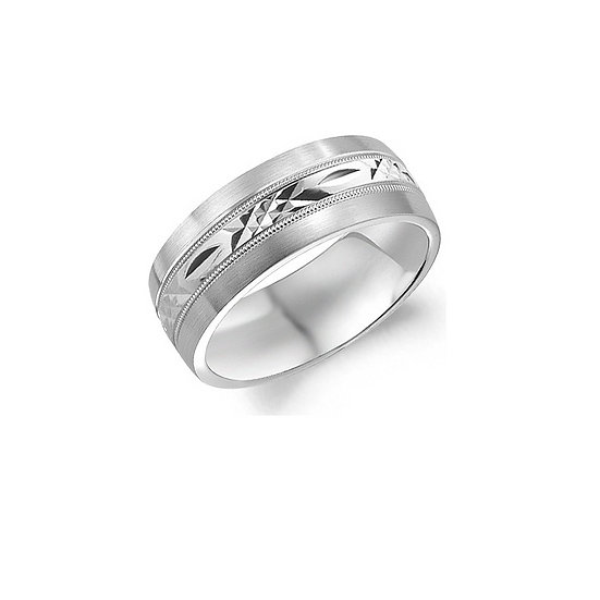 Mens Etched Wedding Band