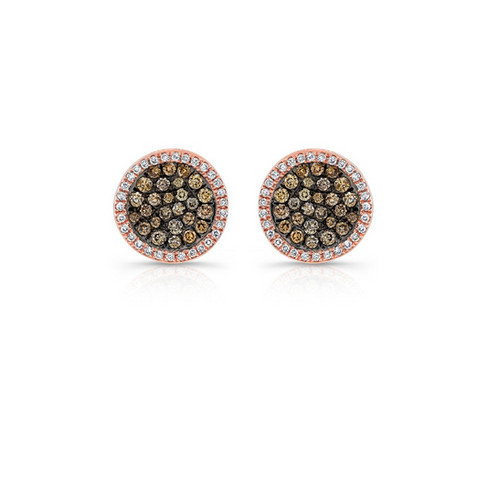 This Pair Of Sparkling Pave Set Champagne Diamond Halo Stud Style Earrings Are Sure To Make A Statement Fashioned In Yellow Gold With Blackened The