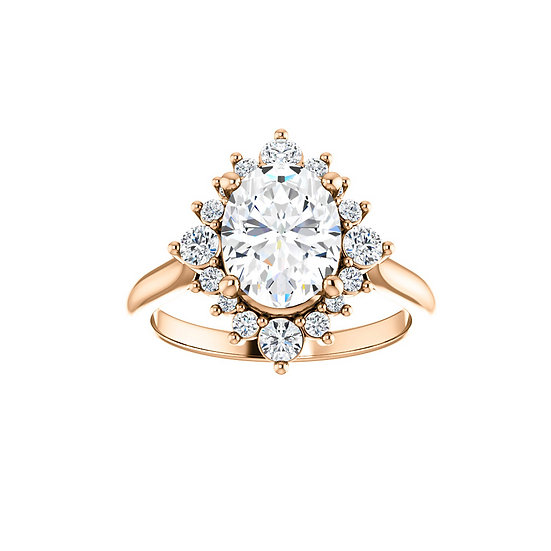 Oval Starburst Halo Engagement Ring Setting