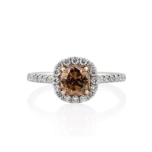 Chocolate Diamond Halo Engagement Ring