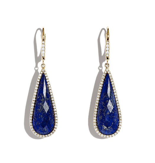Lapis Lazuli Diamond Earrings