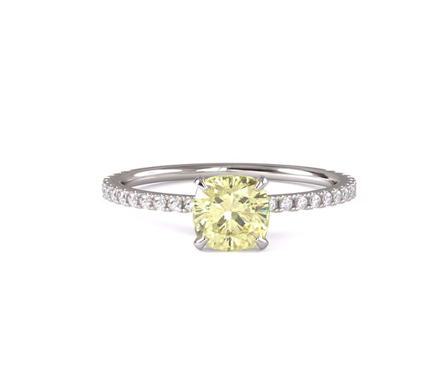 Cushion Yellow Diamond Engagement Ring