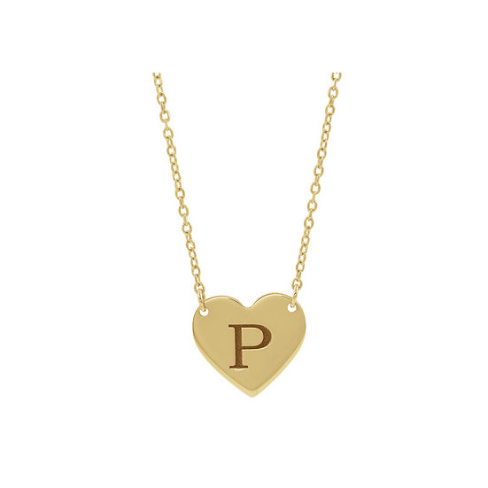 Yellow Gold Heart Engraveable Necklace