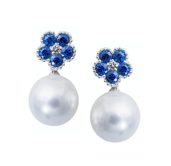 Sapphire Pearl Earrings