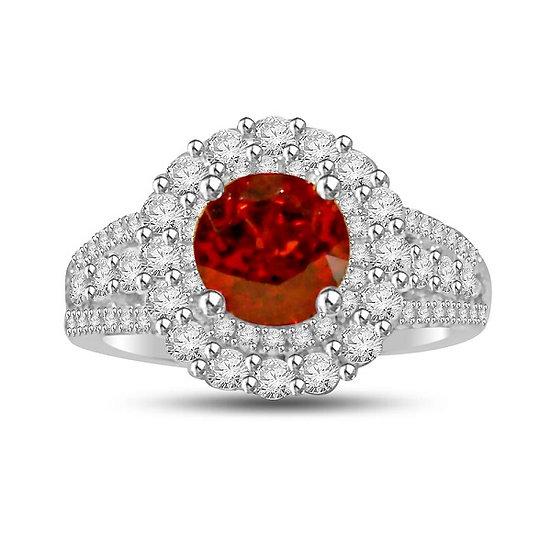 Spessarite Diamond Ring