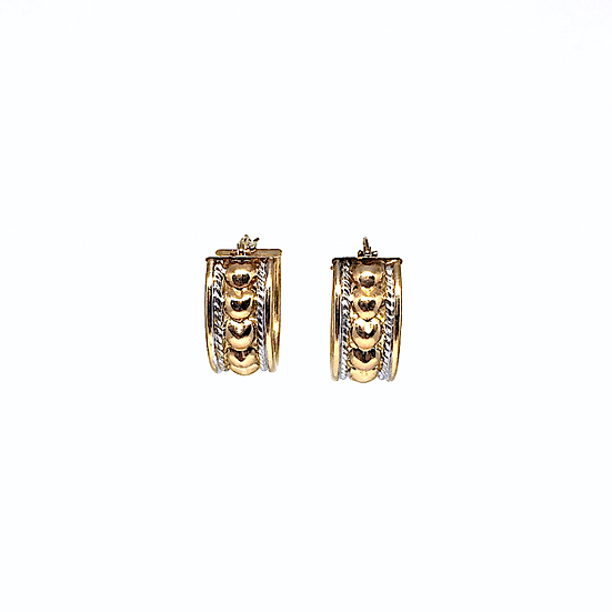 Gold hoop edged earrings