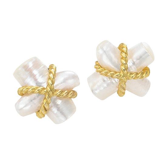 Gold Twist Pearl Earrings
