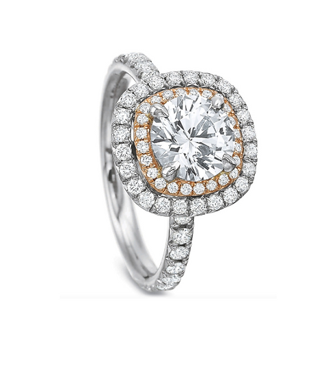 Double Halo Cushion Engagement Ring Setting