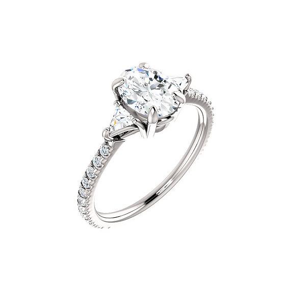 Oval Three Stone Diamond Engagement Ring Setting