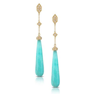 Amazonite Diamond Dangle Earrings