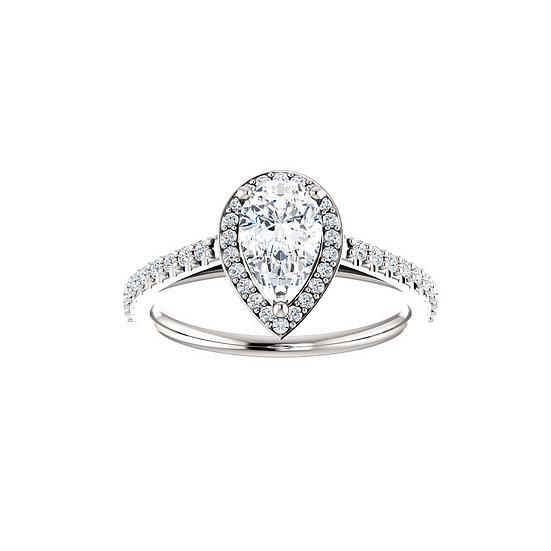 Pear Shape Halo Engagement Ring Setting