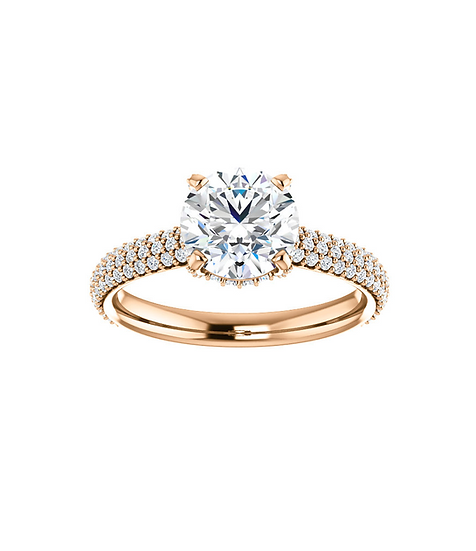 Rose Gold Hidden Halo Engagement Ring