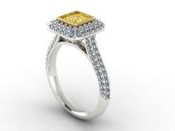 Pave Yellow Diamond Engagement Ring