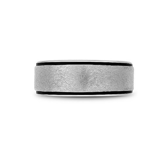 Men's 8.5mm white gold black carbon band